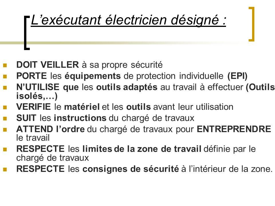Lexécutant électricien désigné : DOIT VEILLER à sa propre sécurité PORTE les équipements de protection individuelle (EPI) NUTILISE que les outils adap