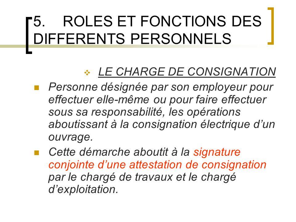 5.ROLES ET FONCTIONS DES DIFFERENTS PERSONNELS LE CHARGE DE CONSIGNATION Personne désignée par son employeur pour effectuer elle-même ou pour faire ef