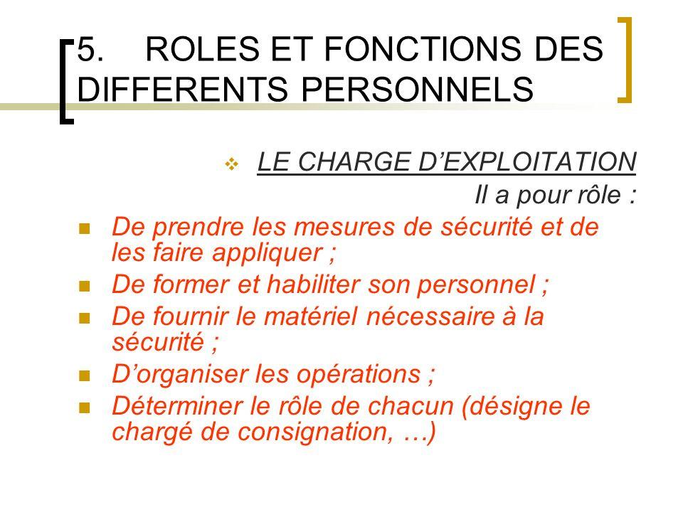 5.ROLES ET FONCTIONS DES DIFFERENTS PERSONNELS LE CHARGE DEXPLOITATION Il a pour rôle : De prendre les mesures de sécurité et de les faire appliquer ;