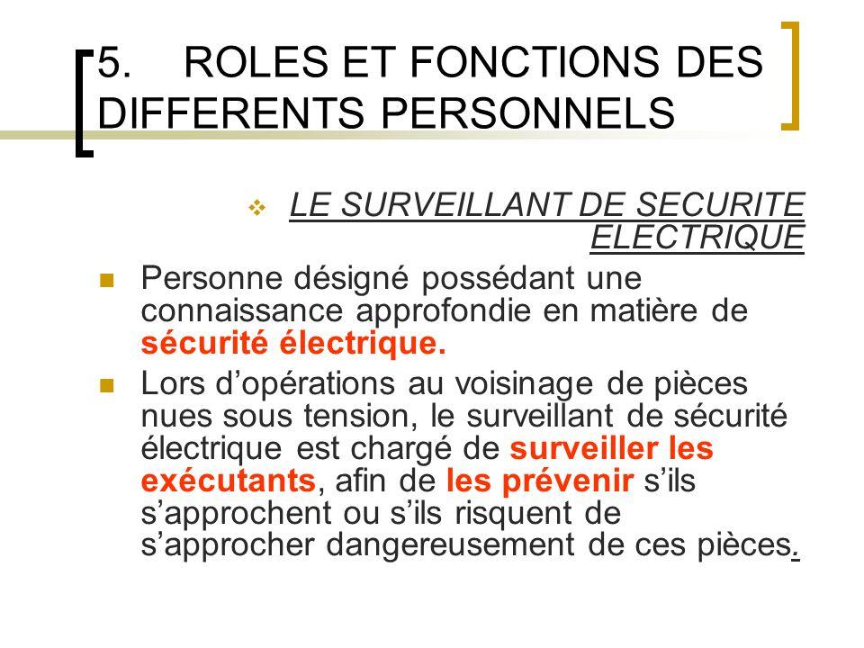 5.ROLES ET FONCTIONS DES DIFFERENTS PERSONNELS LE SURVEILLANT DE SECURITE ELECTRIQUE Personne désigné possédant une connaissance approfondie en matière de sécurité électrique.