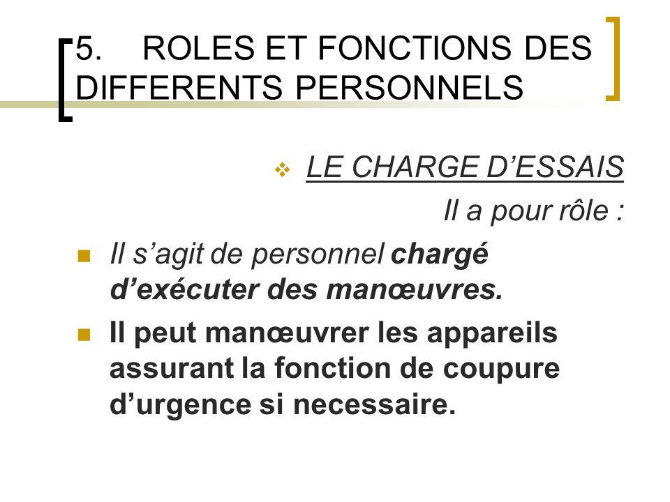5.ROLES ET FONCTIONS DES DIFFERENTS PERSONNELS LE CHARGE DESSAIS Il a pour rôle : Il sagit de personnel chargé dexécuter des manœuvres.