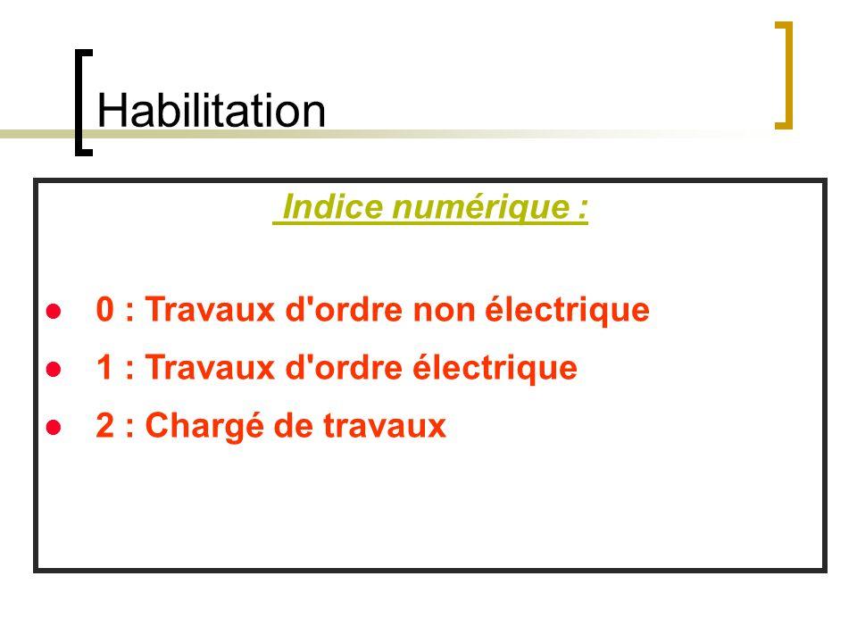 Habilitation Indice numérique : 0 : Travaux d'ordre non électrique 1 : Travaux d'ordre électrique 2 : Chargé de travaux