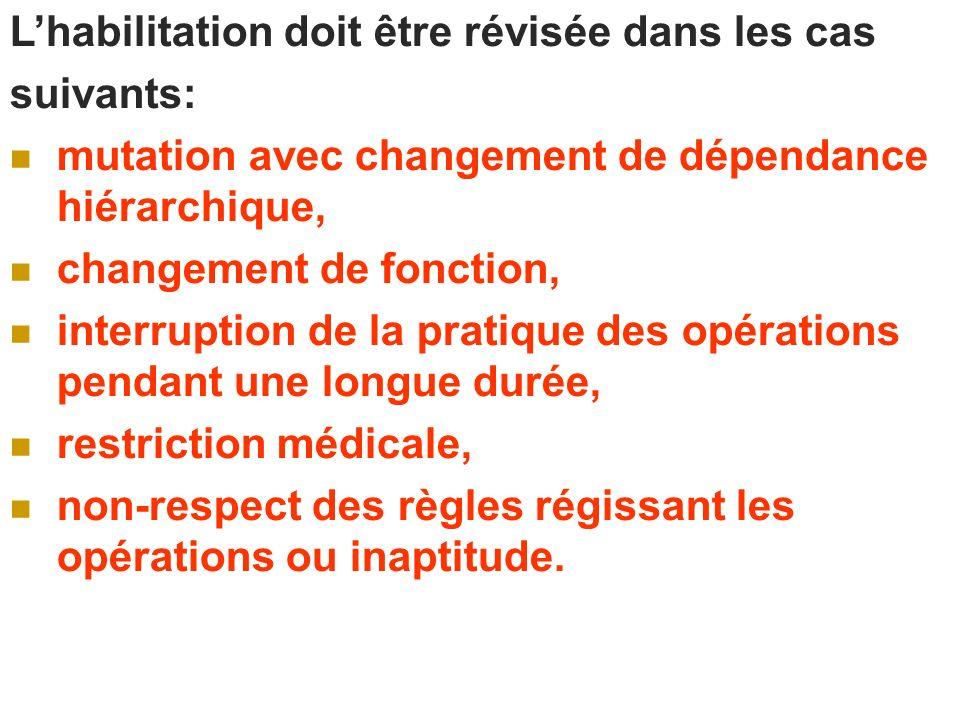 Lhabilitation doit être révisée dans les cas suivants: mutation avec changement de dépendance hiérarchique, changement de fonction, interruption de la