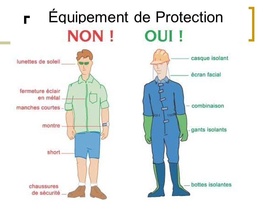 Équipement de Protection individuelle Gants isolants Écran facial anti-UV Casque anti-chocs RISQUES AU NIVEAU DE LA TÊTE Chute dun niveau supérieur Ch