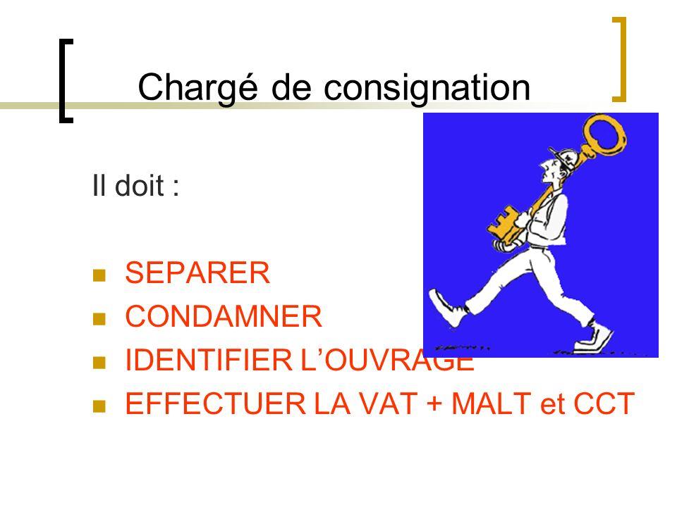 Chargé de consignation Il doit : SEPARER CONDAMNER IDENTIFIER LOUVRAGE EFFECTUER LA VAT + MALT et CCT