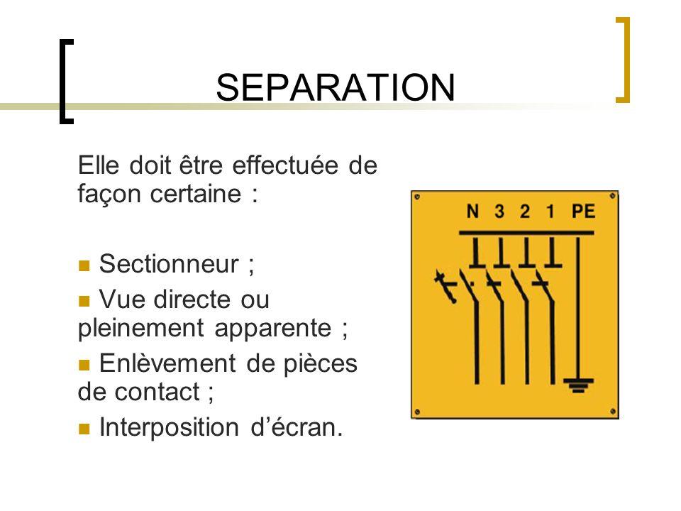 SEPARATION Elle doit être effectuée de façon certaine : Sectionneur ; Vue directe ou pleinement apparente ; Enlèvement de pièces de contact ; Interposition décran.