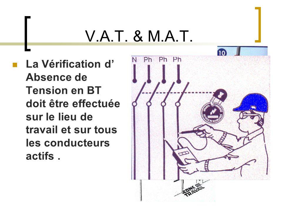 V.A.T. & M.A.T. La Vérification d Absence de Tension en BT doit être effectuée sur le lieu de travail et sur tous les conducteurs actifs.