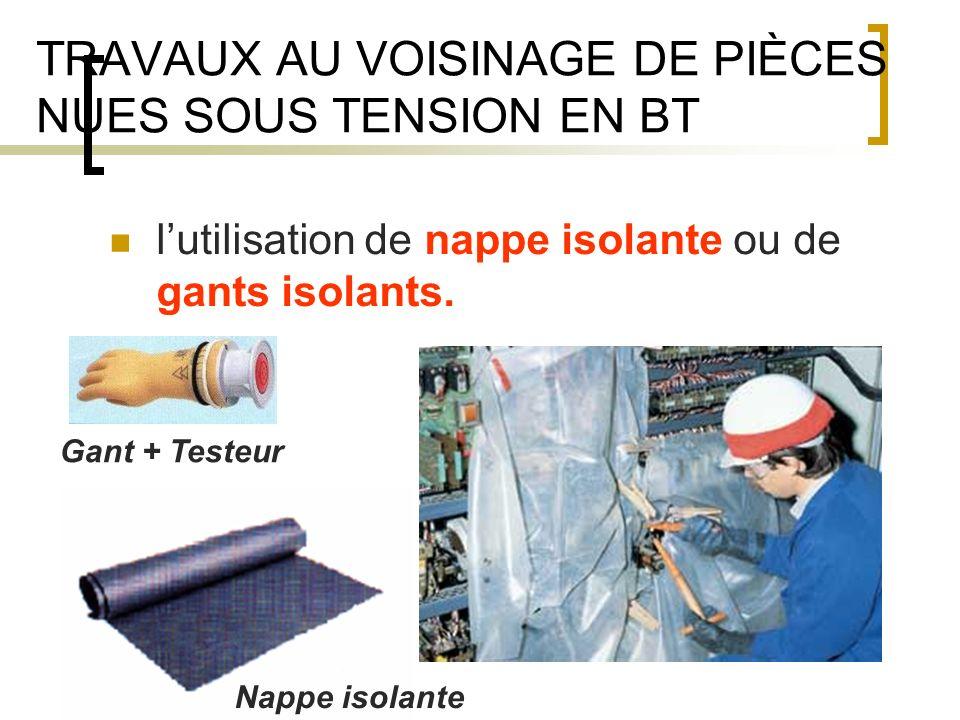 TRAVAUX AU VOISINAGE DE PIÈCES NUES SOUS TENSION EN BT lutilisation de nappe isolante ou de gants isolants.