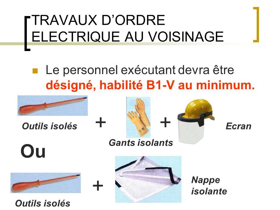 TRAVAUX DORDRE ELECTRIQUE AU VOISINAGE Le personnel exécutant devra être désigné, habilité B1-V au minimum. Outils isolés Gants isolants Ecran ++ Outi