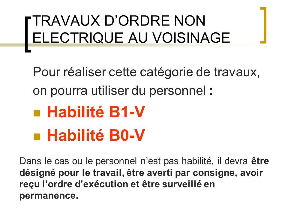 TRAVAUX DORDRE NON ELECTRIQUE AU VOISINAGE Pour réaliser cette catégorie de travaux, on pourra utiliser du personnel : Habilité B1-V Habilité B0-V Dan