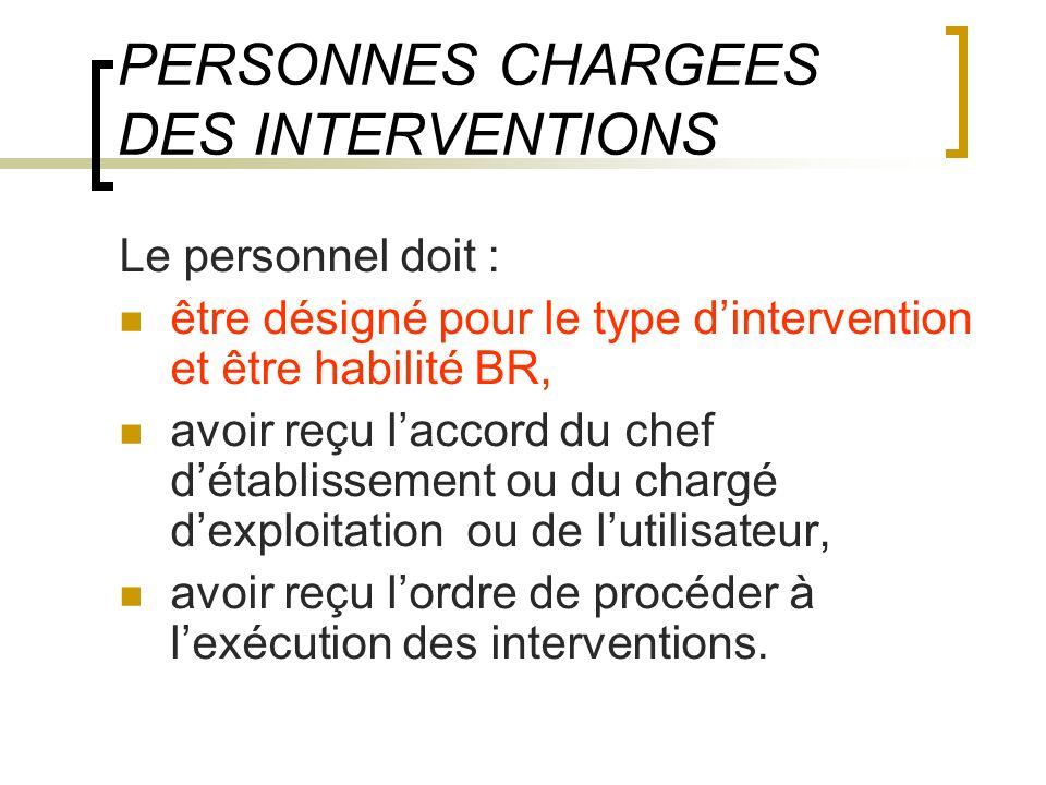 PERSONNES CHARGEES DES INTERVENTIONS Le personnel doit : être désigné pour le type dintervention et être habilité BR, avoir reçu laccord du chef détab