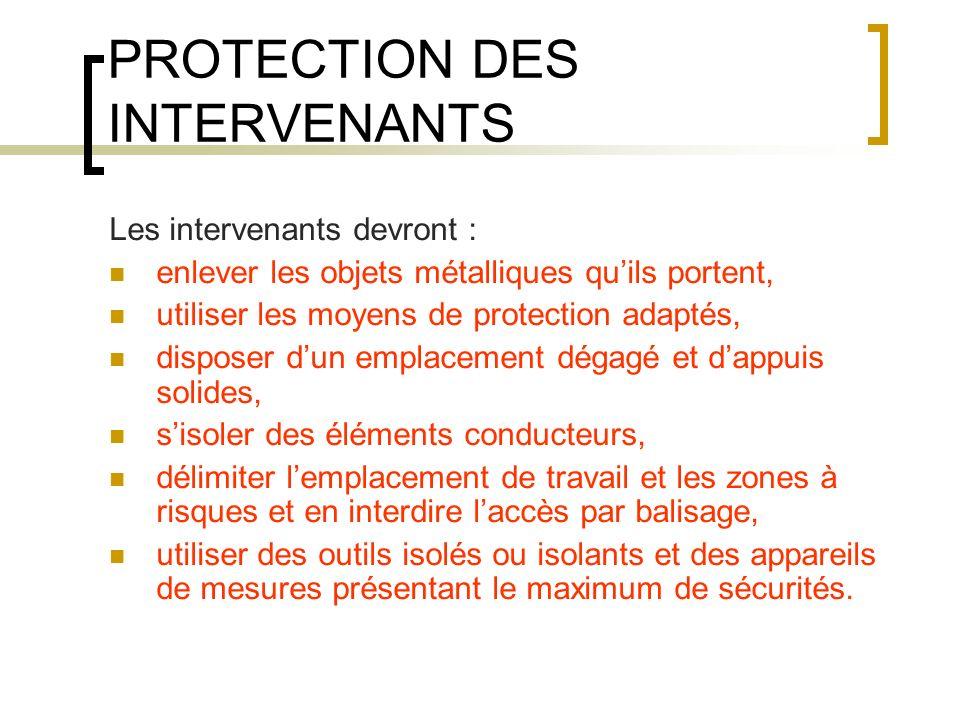 PROTECTION DES INTERVENANTS Les intervenants devront : enlever les objets métalliques quils portent, utiliser les moyens de protection adaptés, dispos