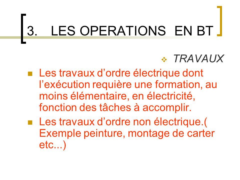 3.LES OPERATIONS EN BT TRAVAUX Les travaux dordre électrique dont lexécution requière une formation, au moins élémentaire, en électricité, fonction des tâches à accomplir.