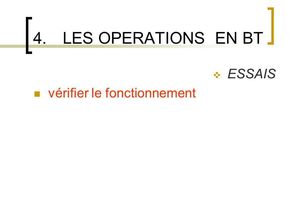 4.LES OPERATIONS EN BT ESSAIS vérifier le fonctionnement