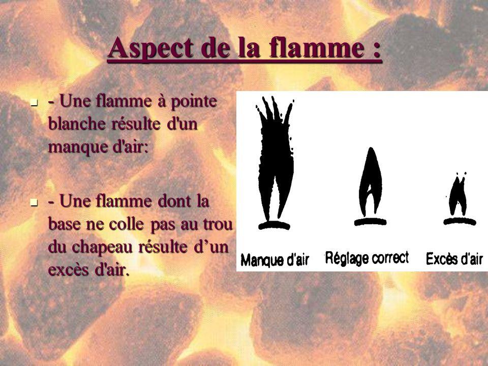 Aspect de la flamme : - Une flamme à pointe blanche résulte d'un manque d'air: - Une flamme à pointe blanche résulte d'un manque d'air: - Une flamme d