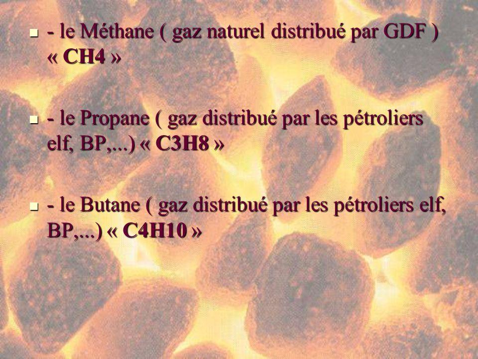- le Méthane ( gaz naturel distribué par GDF ) « CH4 » - le Méthane ( gaz naturel distribué par GDF ) « CH4 » - le Propane ( gaz distribué par les pét