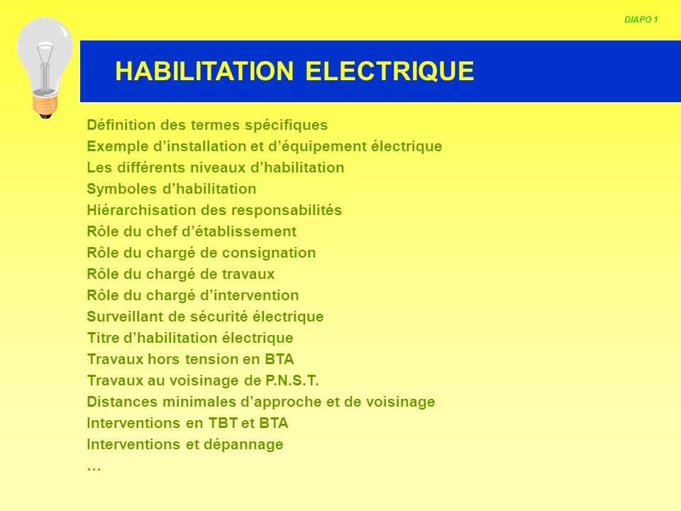 HABILITATION ELECTRIQUE DIAPO 1 Définition des termes spécifiques Exemple dinstallation et déquipement électrique Les différents niveaux dhabilitation