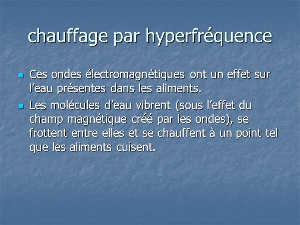 chauffage par hyperfréquence Ces ondes électromagnétiques ont un effet sur leau présentes dans les aliments. Ces ondes électromagnétiques ont un effet