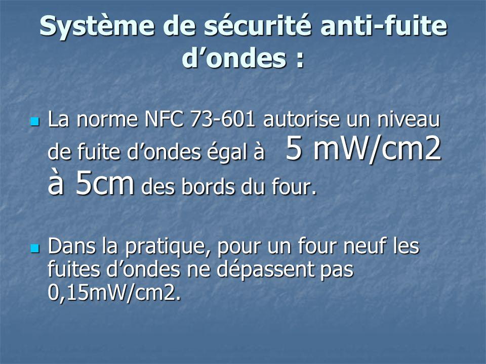 Système de sécurité anti-fuite dondes : La norme NFC 73-601 autorise un niveau de fuite dondes égal à 5 mW/cm2 à 5cm des bords du four. La norme NFC 7