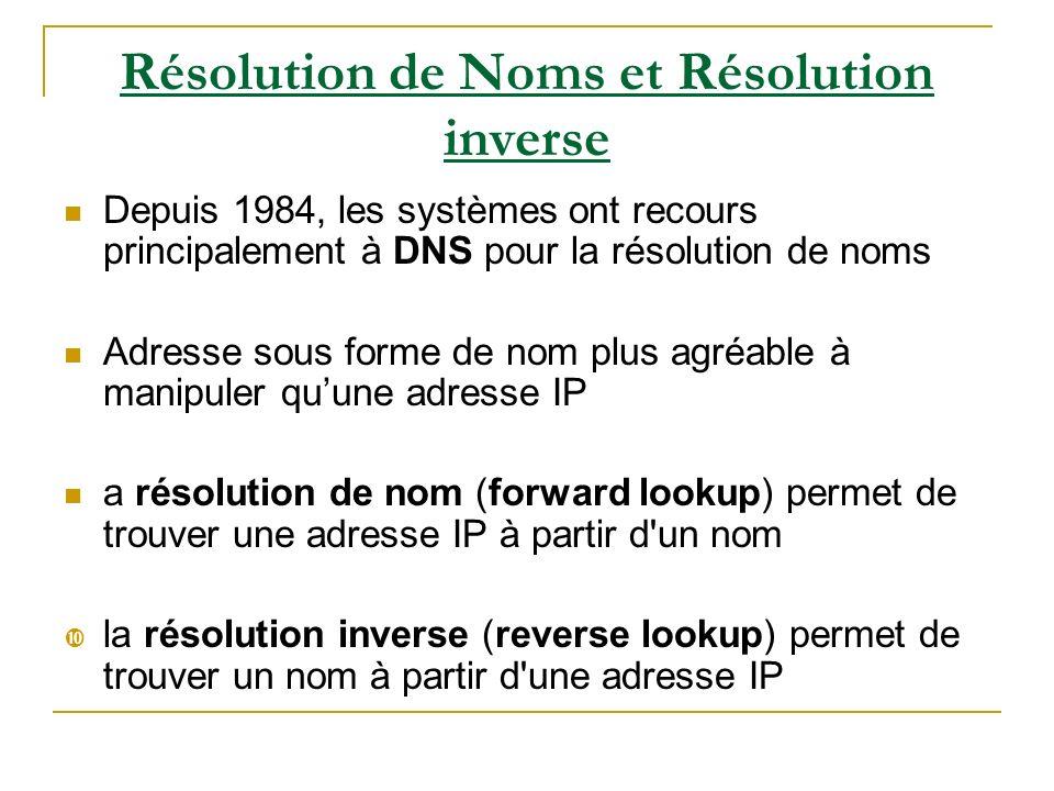 Résolution de Noms et Résolution inverse Depuis 1984, les systèmes ont recours principalement à DNS pour la résolution de noms Adresse sous forme de n