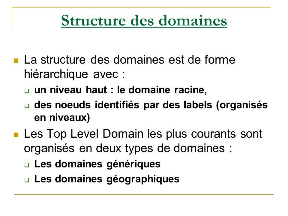 Structure des domaines La structure des domaines est de forme hiérarchique avec : un niveau haut : le domaine racine, des noeuds identifiés par des la
