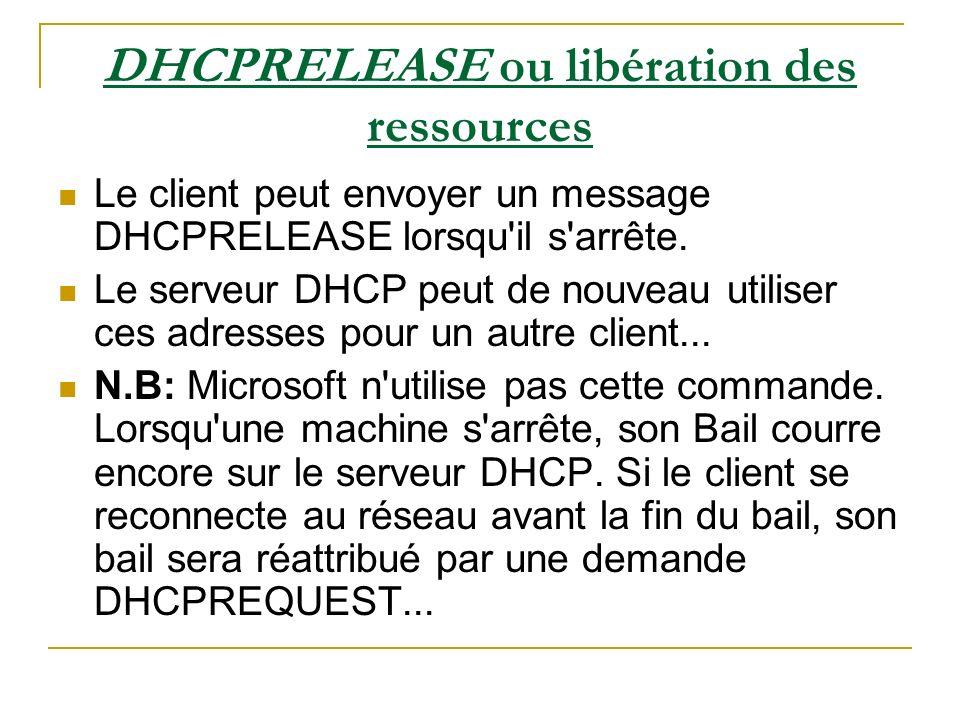 DHCPRELEASE ou libération des ressources Le client peut envoyer un message DHCPRELEASE lorsqu'il s'arrête. Le serveur DHCP peut de nouveau utiliser ce
