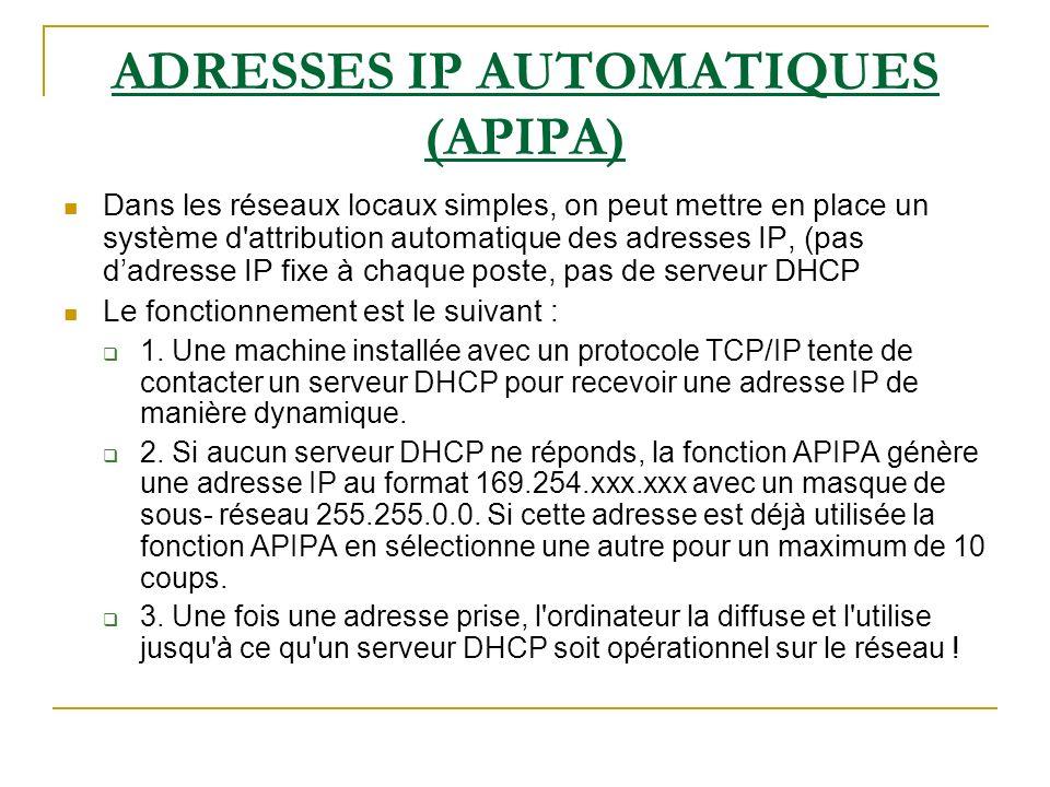 ADRESSES IP AUTOMATIQUES (APIPA) Dans les réseaux locaux simples, on peut mettre en place un système d'attribution automatique des adresses IP, (pas d