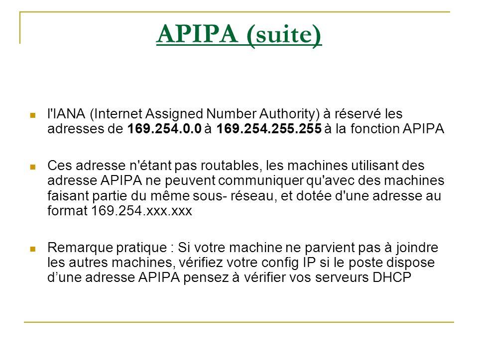 APIPA (suite) l'IANA (Internet Assigned Number Authority) à réservé les adresses de 169.254.0.0 à 169.254.255.255 à la fonction APIPA Ces adresse n'ét