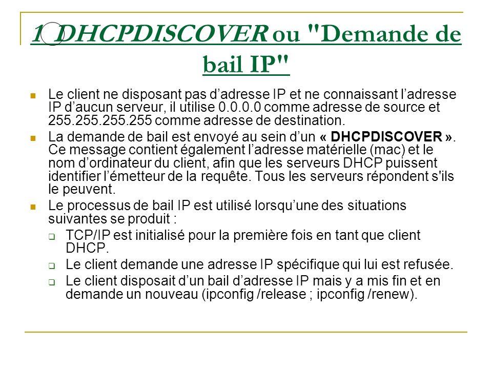 2 DHCPOFFER ou Offre de bail IP Tous les serveurs DHCP qui ont reçu la demande et qui disposent dune configuration valide vis-à-vis du client diffusent une proposition.