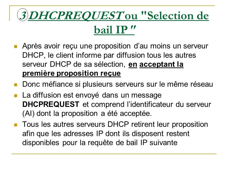 4 DHCPACK / NACK ou Accusé de réception de bail IP Le serveur DHCP dont la proposition est acceptée diffuse au client un accusé de réception stipulant la conclusion du bail, sous la forme dun message DHCPACK.