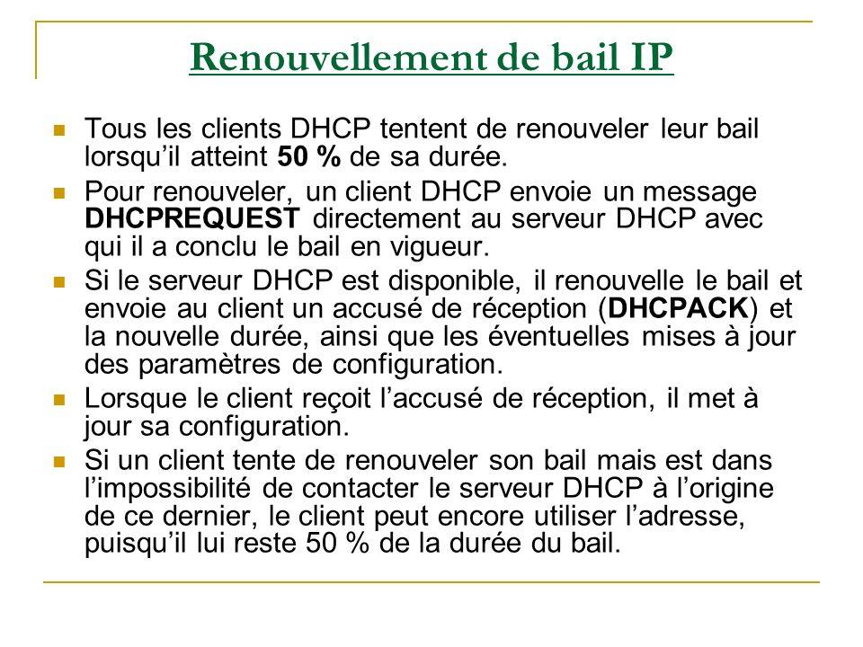 Renouvellement de bail IP (suite) Si un bail, lorsquil atteint 50 % de sa durée, na pas pu être renouvelé par le serveur DHCP dorigine, le client tente de contacter les autres serveurs DHCP disponibles lorsque 87,5% du temps sest écoulé.