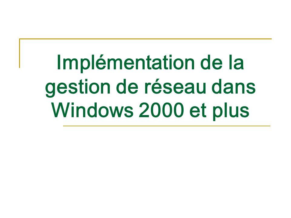 Implémentation de la gestion de réseau dans Windows 2000 et plus