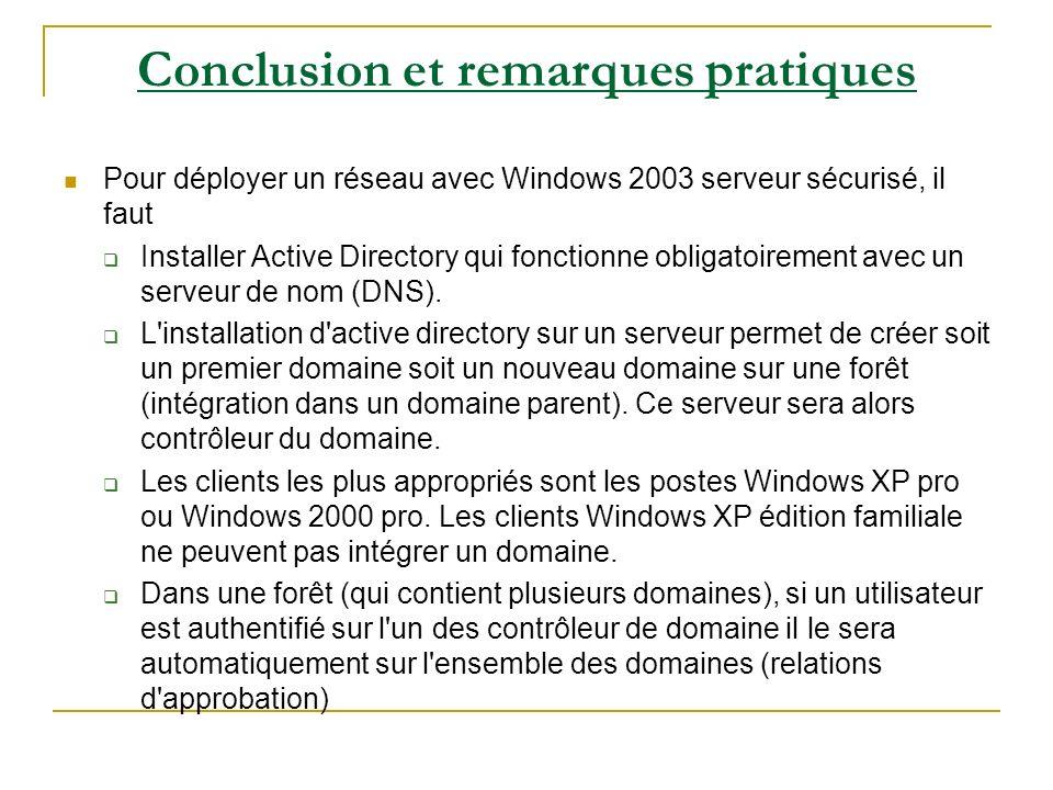 Conclusion et remarques pratiques Pour déployer un réseau avec Windows 2003 serveur sécurisé, il faut Installer Active Directory qui fonctionne obliga