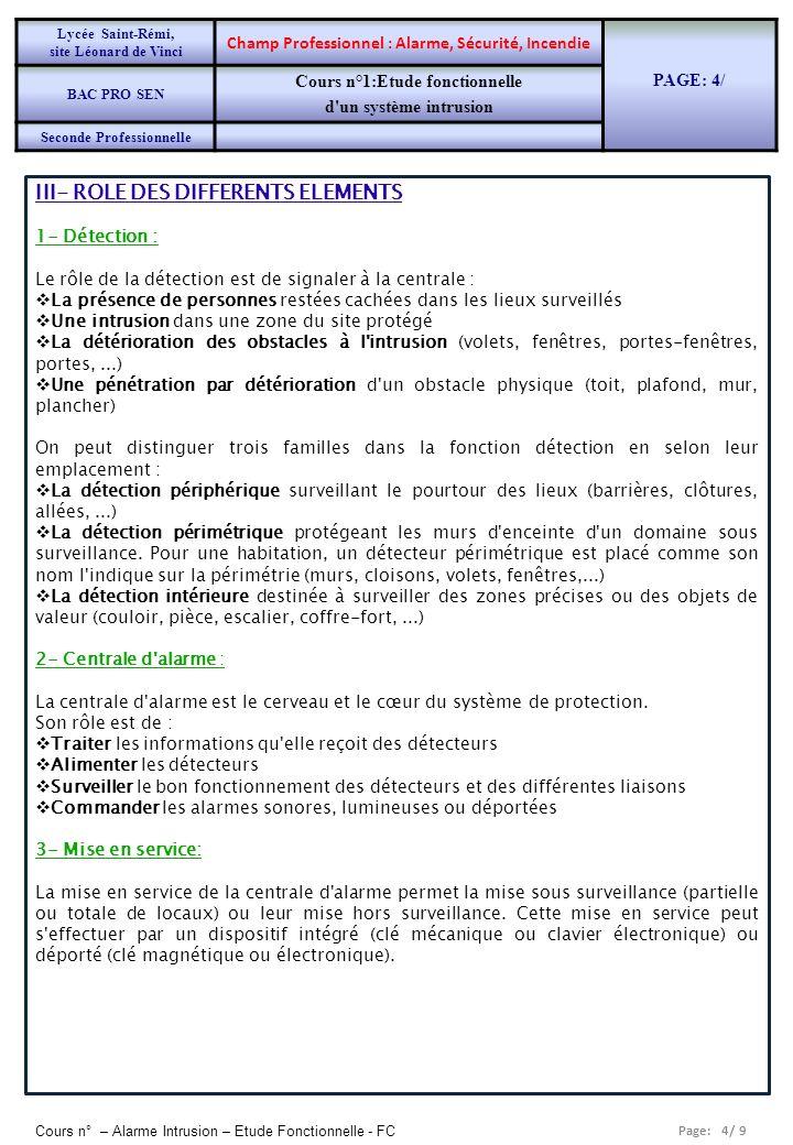 Page: 4/ 9 Cours n° – Alarme Intrusion – Etude Fonctionnelle - FC III- ROLE DES DIFFERENTS ELEMENTS 1- Détection : Le rôle de la détection est de sign