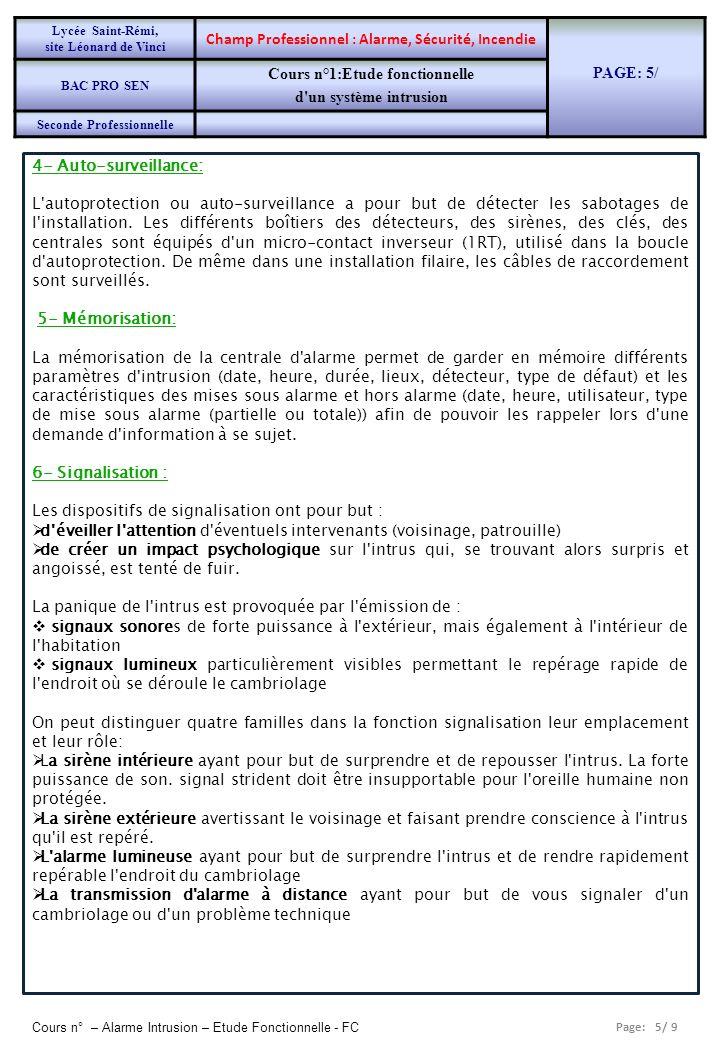 Page: 5/ 9 Cours n° – Alarme Intrusion – Etude Fonctionnelle - FC 4- Auto-surveillance: L'autoprotection ou auto-surveillance a pour but de détecter l