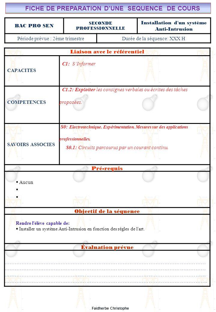 Seconde Bac Professionnel SEN Synthèse M.FAIDHERBE, Professeur au Lycée Privé Saint Rémi Pôle professionnel Léonard de Vinci I).Définition II).Électricité dans la matière III).Courant électrique III.1Définition III.2Mesure de lintensité du courant électrique IV).Formules IV.1Intensité IV.2Densité du courant(J) IV.3Application V).Différence de potentiel ( tension) V.1Définition V.2Analogie (circuit hydraulique) V.3Application Exercices Expérience Cours Lycée Saint-Rémi, site Léonard de Vinci Champ Professionnel : Alarme, Sécurité, Incendie Liaison avec le référentiel C7 C6 BAC PRO SEN Cours n°3: Installation d un système Anti-Intrusion C5 C4 C3 Seconde Professionnelle C2 C1 Lieu dActivité: Classe S0S1S2S3S4S5S6S7 Plan du Cours