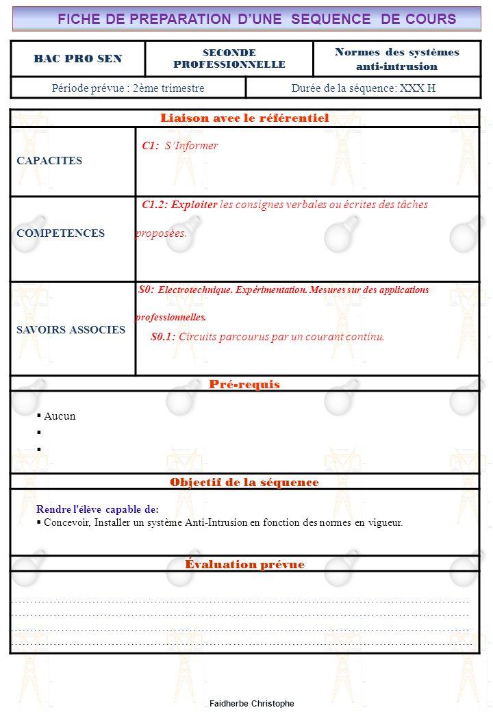 Faidherbe Christophe BAC PRO SEN SECONDE PROFESSIONNELLE Normes des systèmes anti-intrusion Période prévue : 2ème trimestreDurée de la séquence: XXX H Liaison avec le référentiel CAPACITES C1: SInformer COMPETENCES C1.2: Exploiter les consignes verbales ou écrites des tâches proposées.