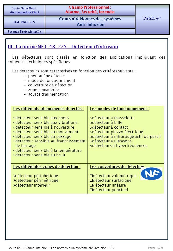 Page: 6/ 9 Cours n° – Alarme Intrusion – Les normes dun système anti-intrusion - FC III- La norme NF C 48-225 - Détecteur d intrusion Les détecteurs sont classés en fonction des applications impliquant des exigences techniques spécifiques.