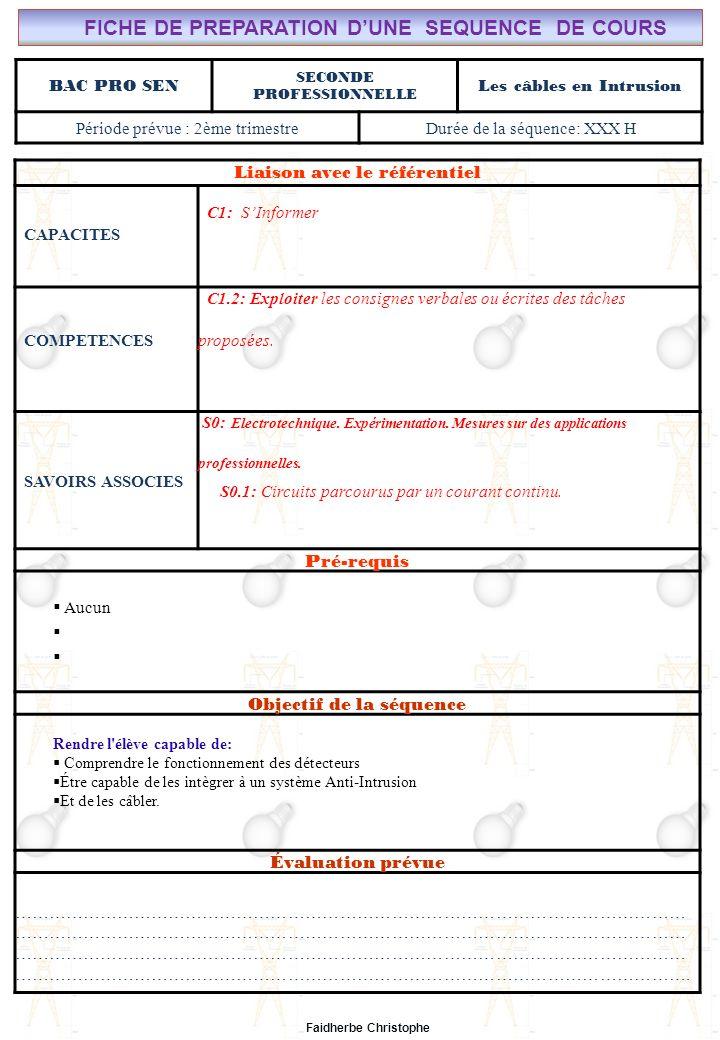 Seconde Bac Professionnel SEN Synthèse M.FAIDHERBE, Professeur au Lycée Privé Saint Rémi Pôle professionnel Léonard de Vinci I).Définition II).Électricité dans la matière III).Courant électrique III.1Définition III.2Mesure de lintensité du courant électrique IV).Formules IV.1Intensité IV.2Densité du courant(J) IV.3Application V).Différence de potentiel ( tension) V.1Définition V.2Analogie (circuit hydraulique) V.3Application Exercices Expérience Cours Lycée Saint-Rémi, site Léonard de Vinci Champ Professionnel : Alarme, Sécurité, Incendie Liaison avec le référentiel C7 C6 BAC PRO SEN Cours n°5: Les câbles en intrusion C5 C4 C3 Seconde Professionnelle C2 C1 Lieu dActivité: Classe S0S1S2S3S4S5S6S7 Plan du Cours