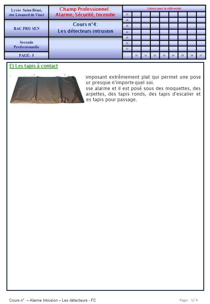 Page: 6/ 9 Cours n° – Alarme Intrusion – Les détecteurs - FC Lycée Saint-Rémi, site Léonard de Vinci Champ Professionnel : Alarme, Sécurité, Incendie Liaison avec le référentiel C7 BAC PRO SEN Cours n°4: Les détecteurs intrusion C6 C5 C4 Seconde Professionnelle C3 C2 PAGE: 6 C1 S0S1S2S3S4S5S6S7
