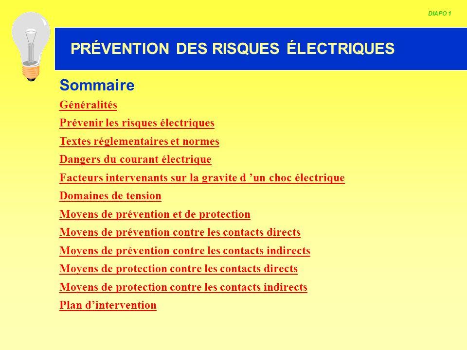 HABILITATION ELECTRIQUE DIAPO 1 PRÉVENTION DES RISQUES ÉLECTRIQUES Sommaire Généralités Prévenir les risques électriques Textes réglementaires et norm