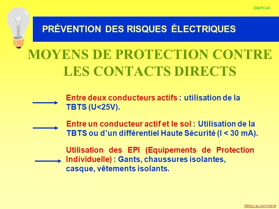 HABILITATION ELECTRIQUE Entre deux conducteurs actifs : utilisation de la TBTS (U<25V). Entre un conducteur actif et le sol : Utilisation de la TBTS o