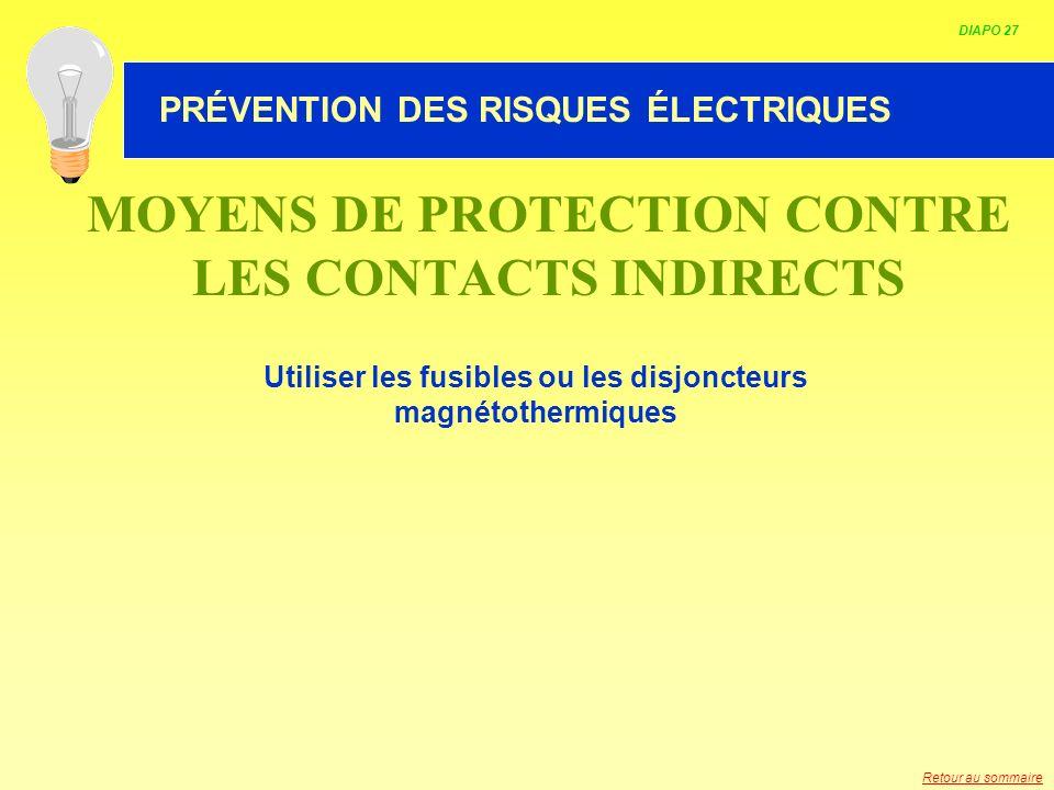 HABILITATION ELECTRIQUE MOYENS DE PROTECTION CONTRE LES CONTACTS INDIRECTS Utiliser les fusibles ou les disjoncteurs magnétothermiques DIAPO 27 PRÉVEN