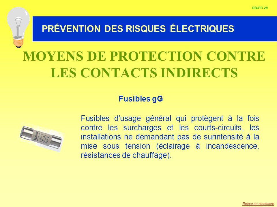 HABILITATION ELECTRIQUE MOYENS DE PROTECTION CONTRE LES CONTACTS INDIRECTS Fusibles gG Fusibles d'usage général qui protègent à la fois contre les sur