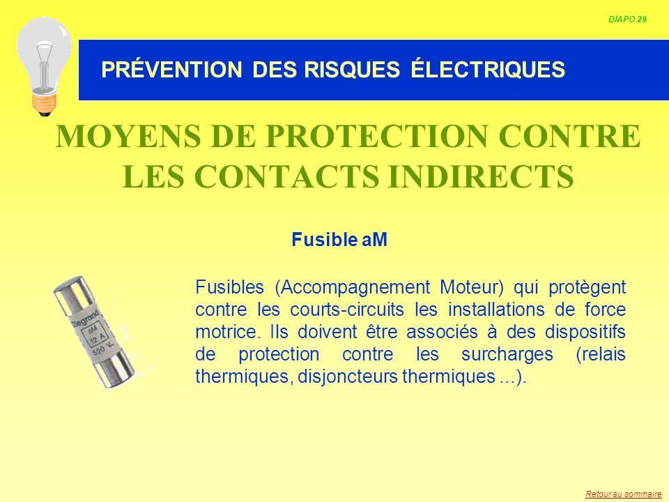 HABILITATION ELECTRIQUE MOYENS DE PROTECTION CONTRE LES CONTACTS INDIRECTS Fusible aM Fusibles (Accompagnement Moteur) qui protègent contre les courts