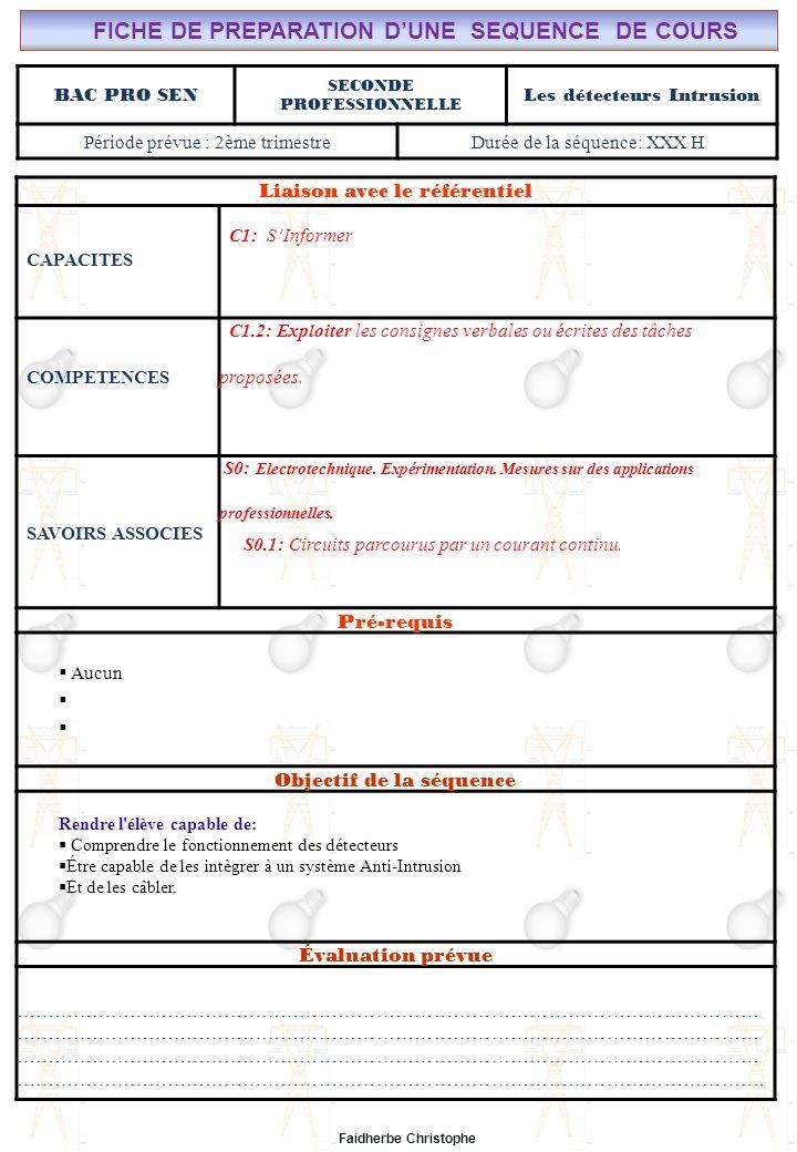 Seconde Bac Professionnel SEN Synthèse M.FAIDHERBE, Professeur au Lycée Privé Saint Rémi Pôle professionnel Léonard de Vinci I).Définition II).Électricité dans la matière III).Courant électrique III.1Définition III.2Mesure de lintensité du courant électrique IV).Formules IV.1Intensité IV.2Densité du courant(J) IV.3Application V).Différence de potentiel ( tension) V.1Définition V.2Analogie (circuit hydraulique) V.3Application Exercices Expérience Cours Lycée Saint-Rémi, site Léonard de Vinci Champ Professionnel : Alarme, Sécurité, Incendie Liaison avec le référentiel C7 C6 BAC PRO SEN Cours n°4: Les détecteurs intrusion C5 C4 C3 Seconde Professionnelle C2 C1 Lieu dActivité: Classe S0S1S2S3S4S5S6S7 Plan du Cours