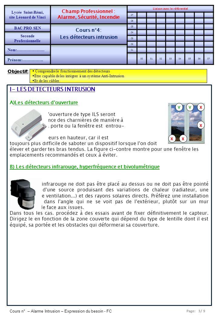 Page: 4/ 9 Cours n° – Alarme Intrusion – Expression du besoin - FC C) Les détecteurs de bris de vitres Ce genre de détecteur ne doit être utilisé que sur des car- reaux de fenêtre normaux, avec vitrage isolant ou double vitrage.