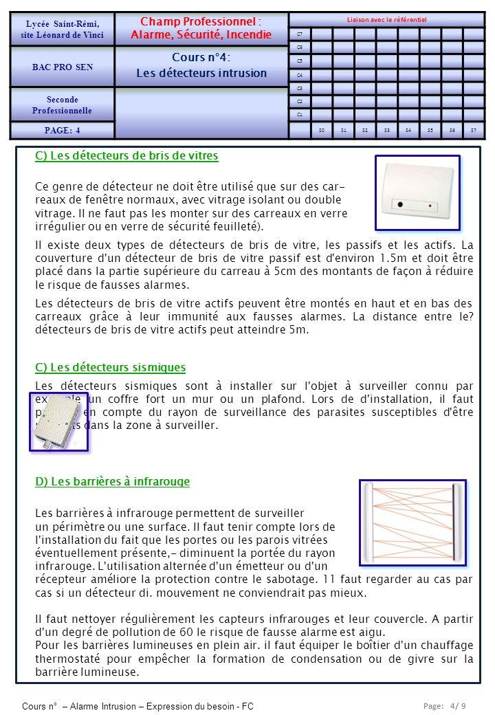 Page: 4/ 9 Cours n° – Alarme Intrusion – Expression du besoin - FC C) Les détecteurs de bris de vitres Ce genre de détecteur ne doit être utilisé que
