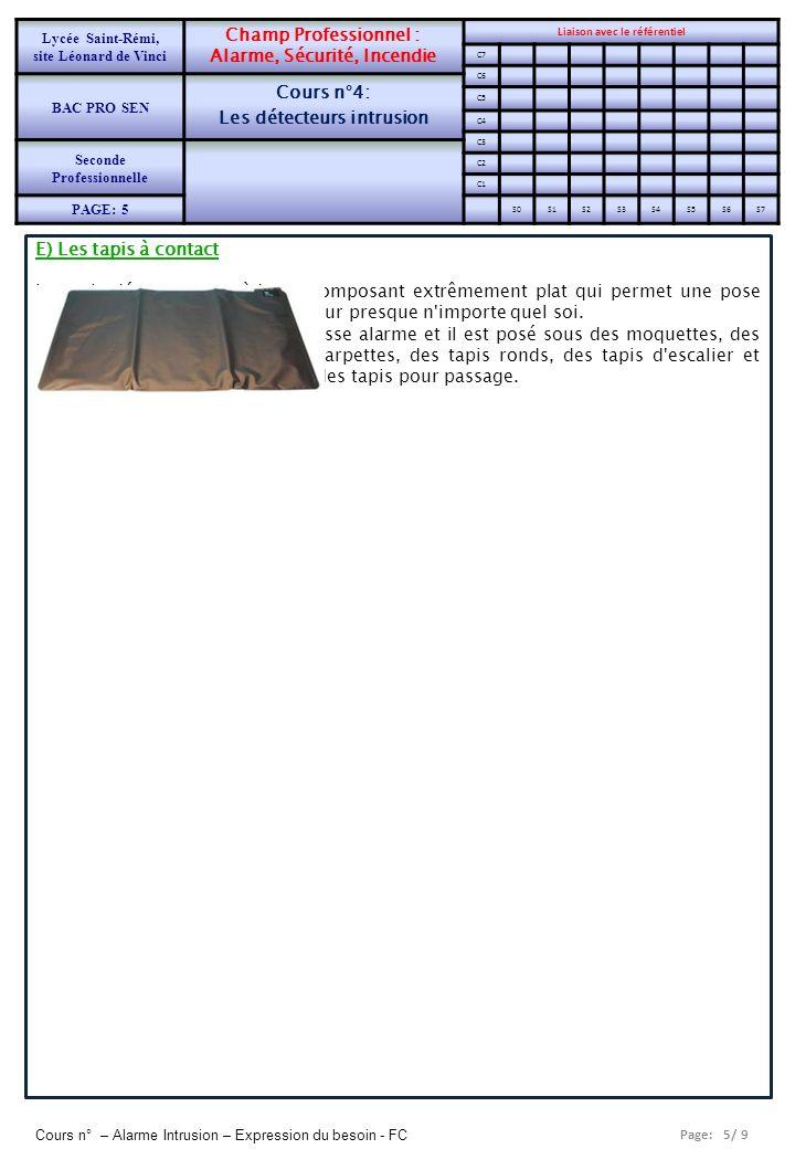 Page: 5/ 9 Cours n° – Alarme Intrusion – Expression du besoin - FC E) Les tapis à contact Le tapis détecteur possède un composant extrêmement plat qui
