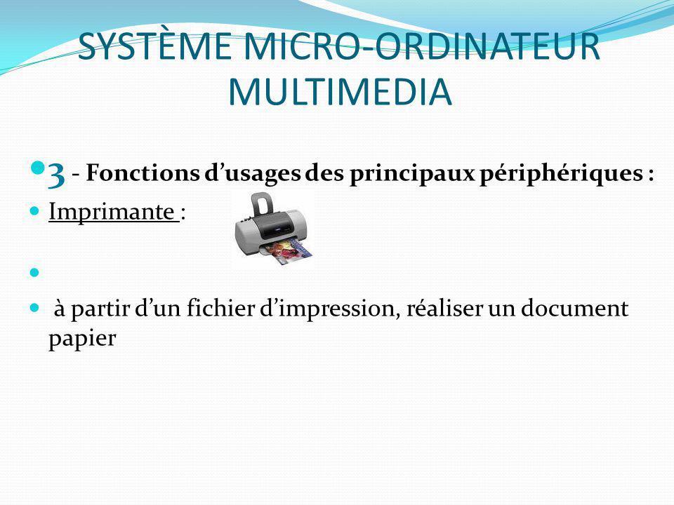 3 - Fonctions dusages des principaux périphériques : Imprimante : à partir dun fichier dimpression, réaliser un document papier SYSTÈME MICRO-ORDINATE